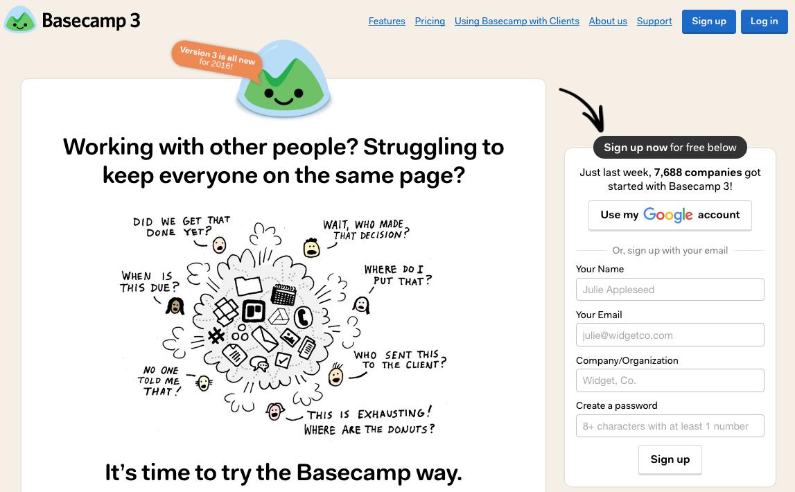 landing page: basecamp