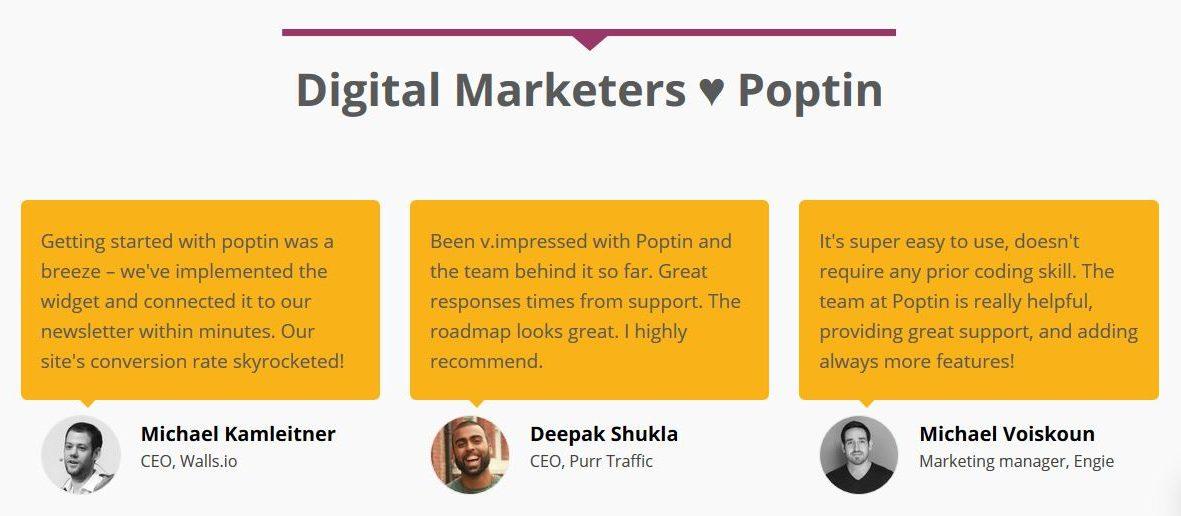 poptin testimonials homepage