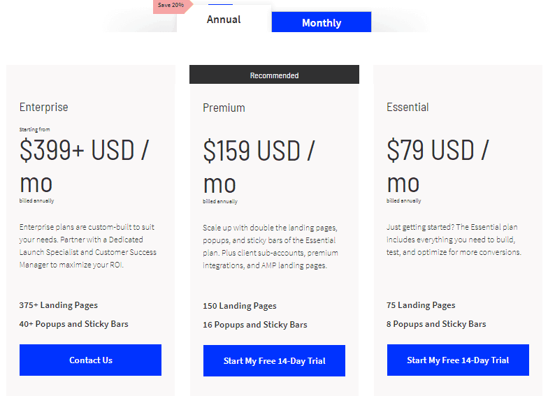 justuno alternative unbounce pricing