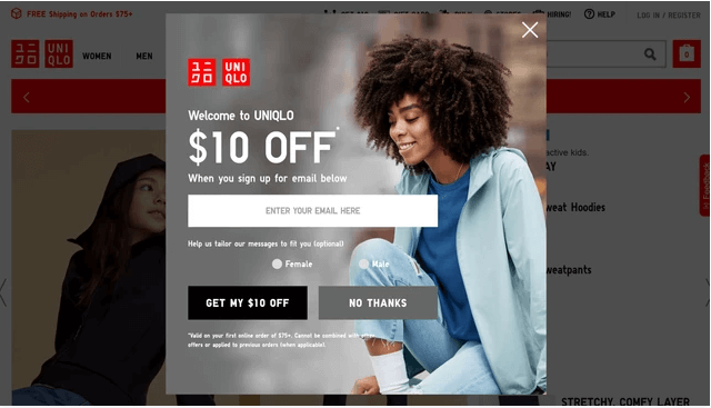 exit-intent ideas uniqlo example
