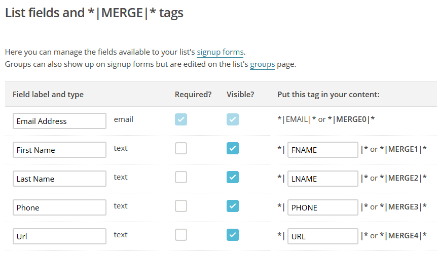 mailchimp popups email list fields and merge tags