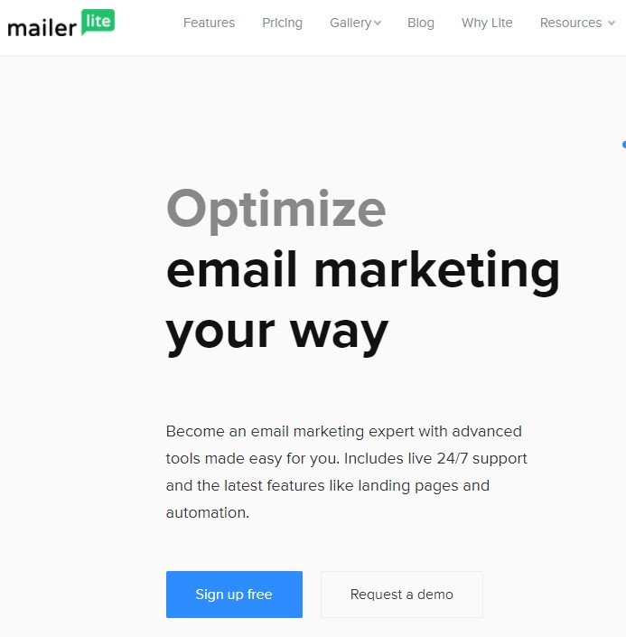 MailerLite Welcome Page
