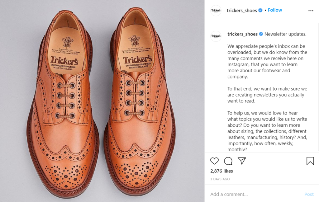 Credit: Trickers Shoes Instagram Page