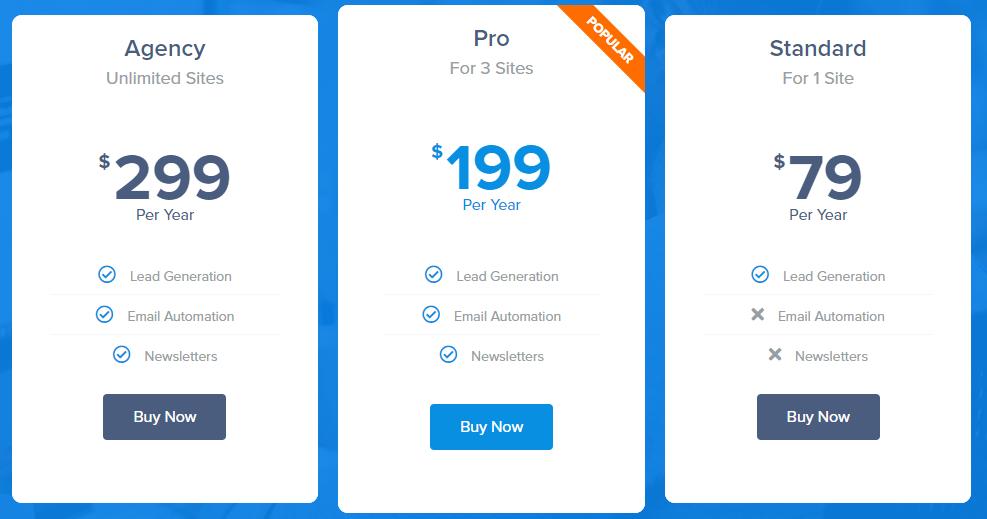 Gleam alternative mailoptin pricing
