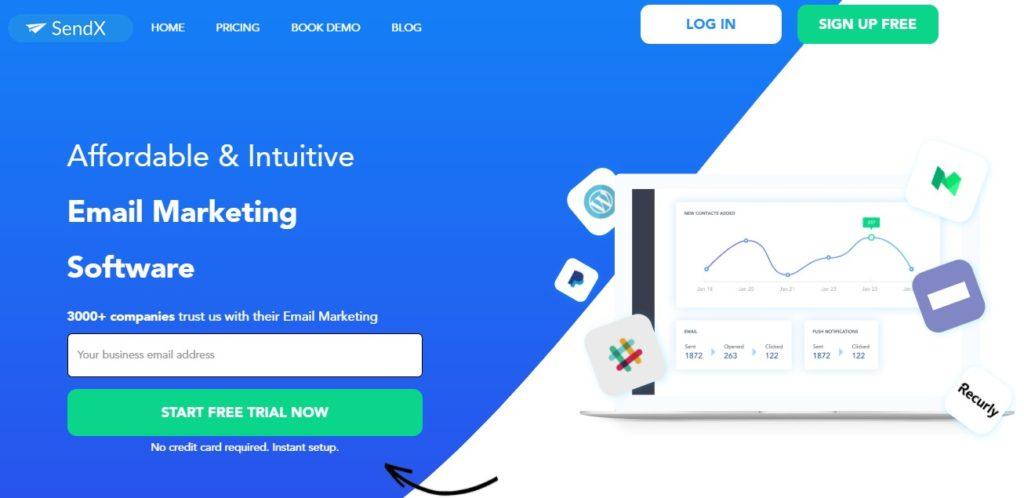 sendx website, sendx, email marketing