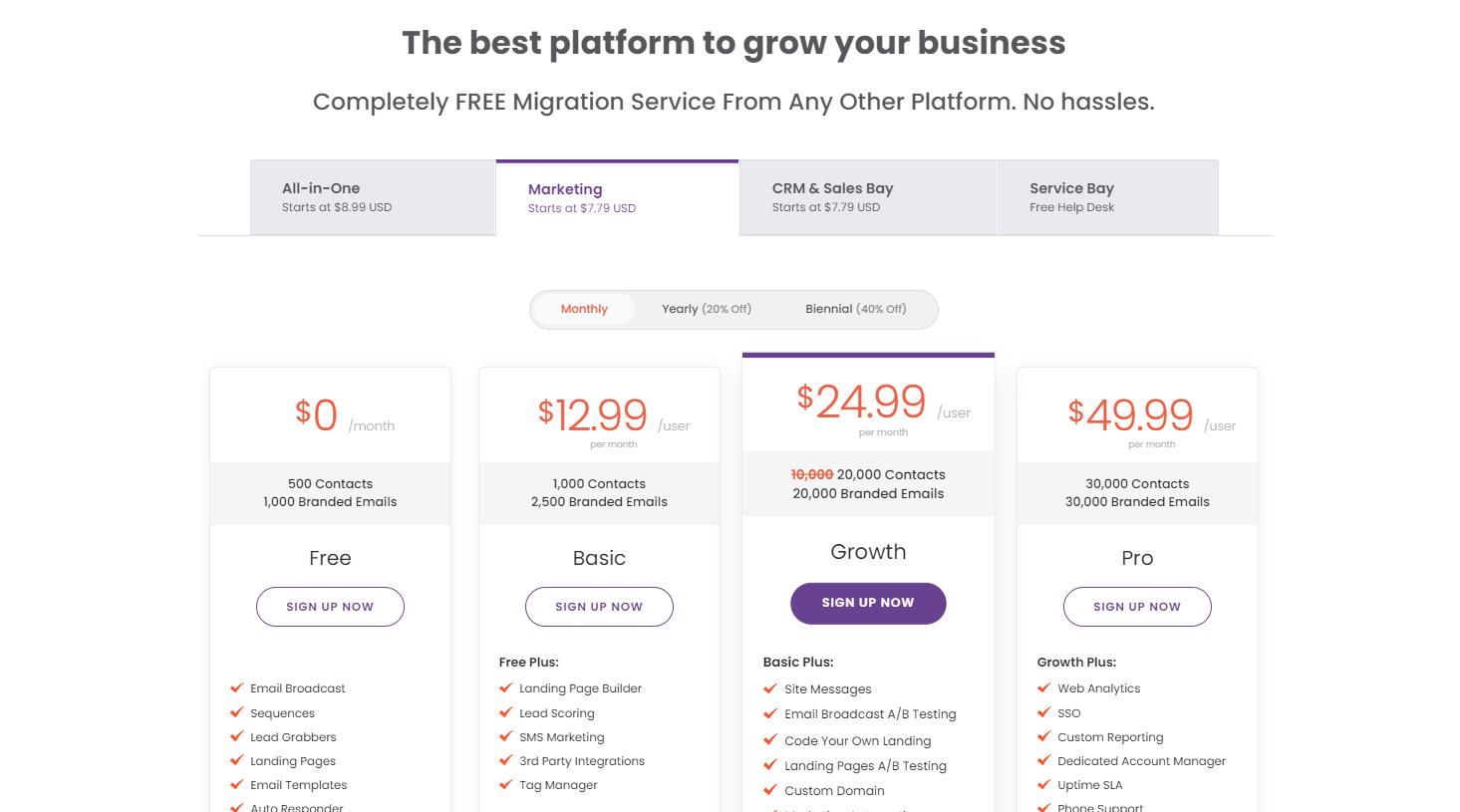 EngageBay marketing bay pricing