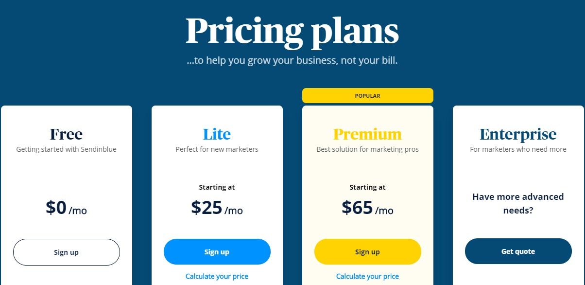 drip alternatives sendinblue pricing