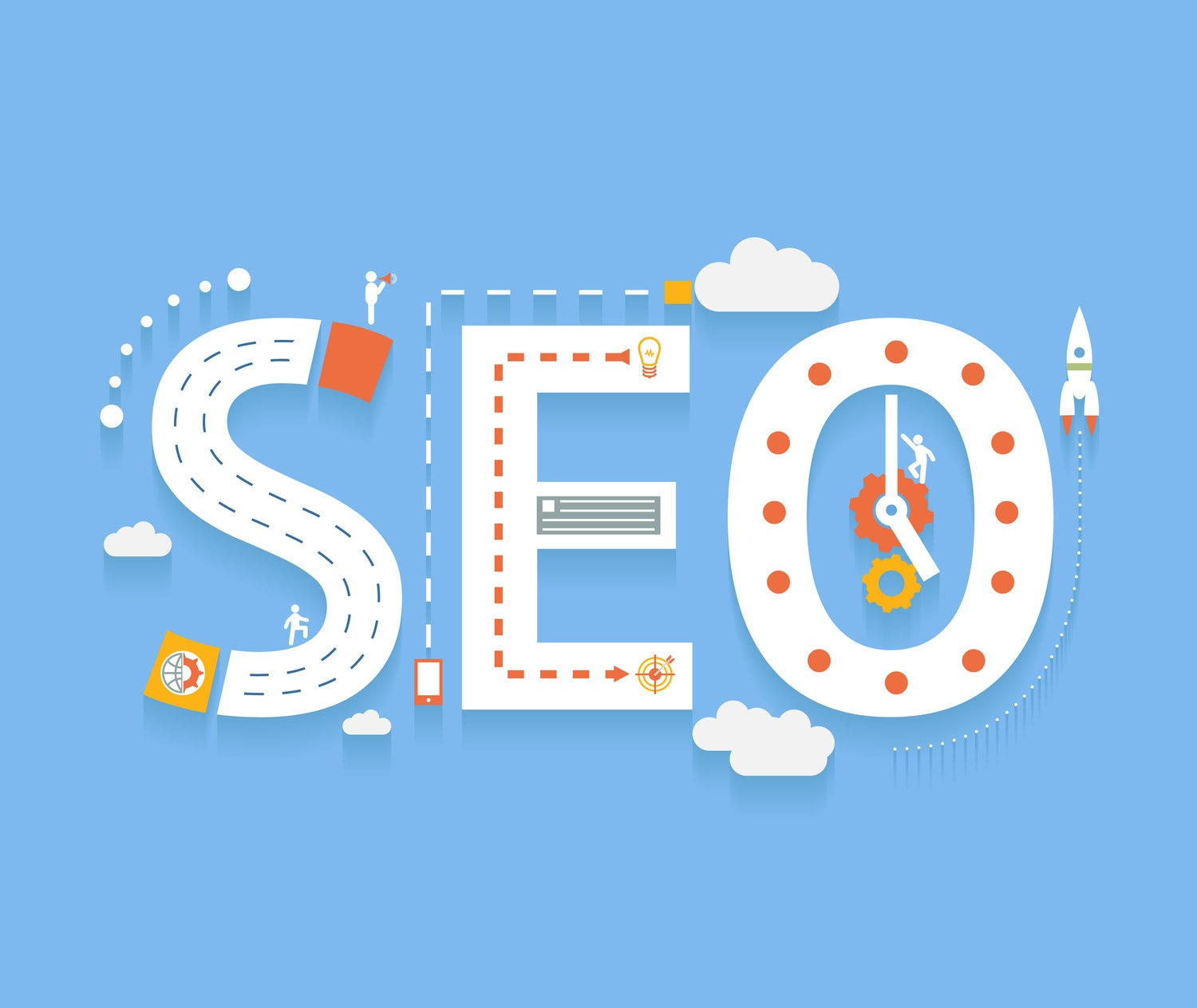 SEO in flat style, success internet searching optimization process illustration concept