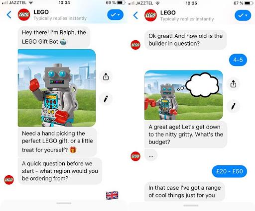 Source: https://www.thedrum.com/news/2017/11/23/meet-lego-s-facebook-messenger-chatbot-ralph-helpful-alternative-bricks-and-mortar