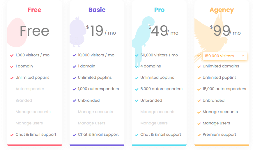 marketing tools track roi poptin pricing table