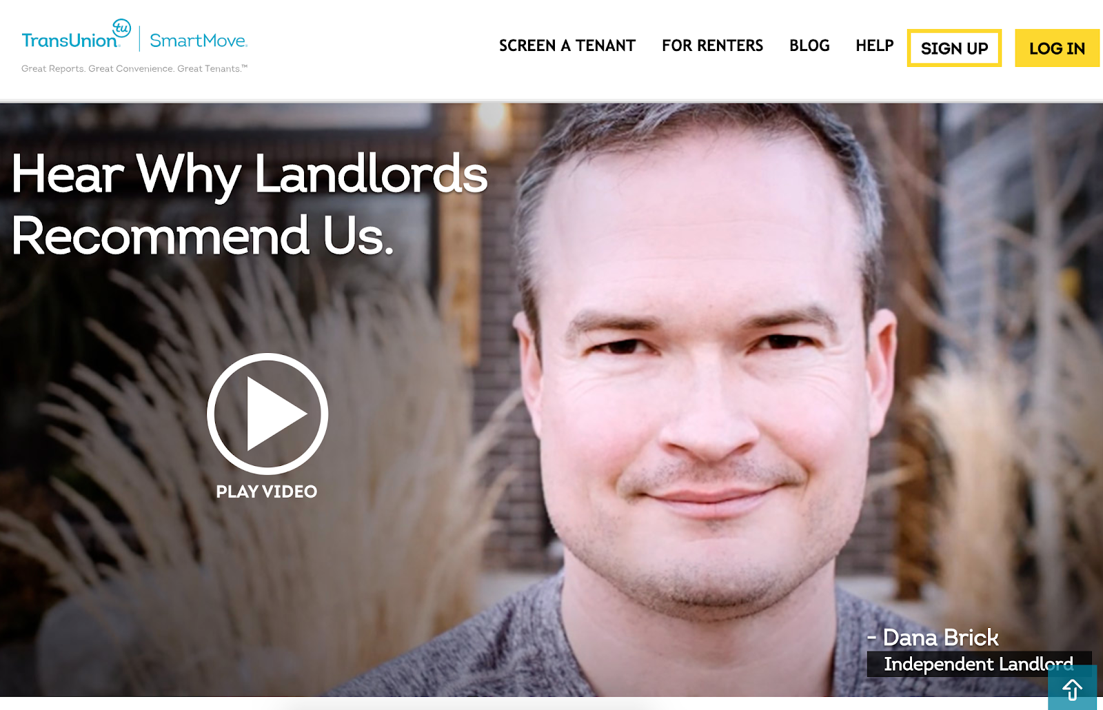 SmartMove, a tenant background check company, features a video testimonial from a satisfied landlord on the homepage of their website. Source: SmartMove
