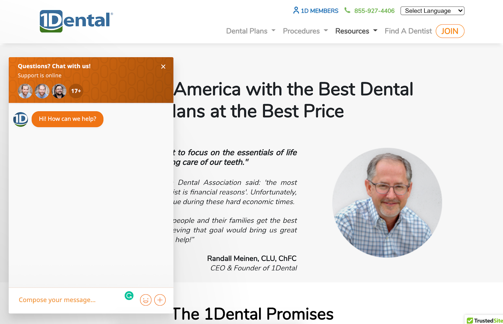 1Dental proudly displays a live chat function in the bottom left-hand corner of their website, no matter which page a visitor is on. Source: 1Dental