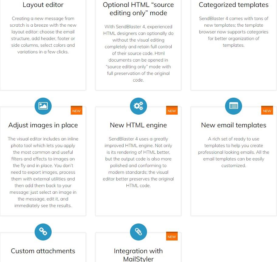 Sendblaster Features