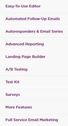 VerticalResponse Features