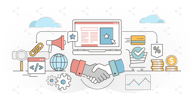 Affiliate marketing outline concept vector illustration