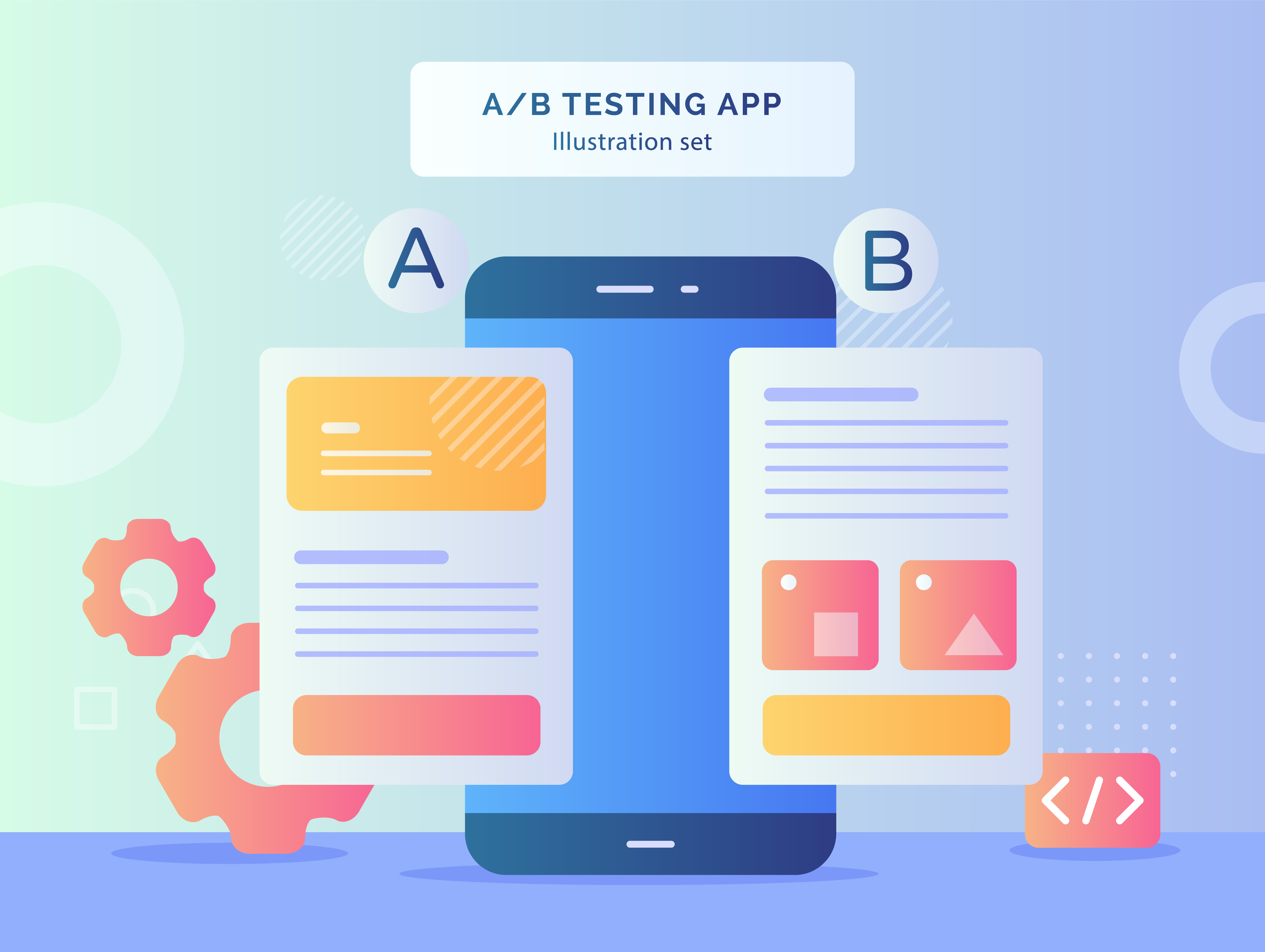 A B testing app illustration set result comparing two web site page wireframe mobile on smartphone with flat style.