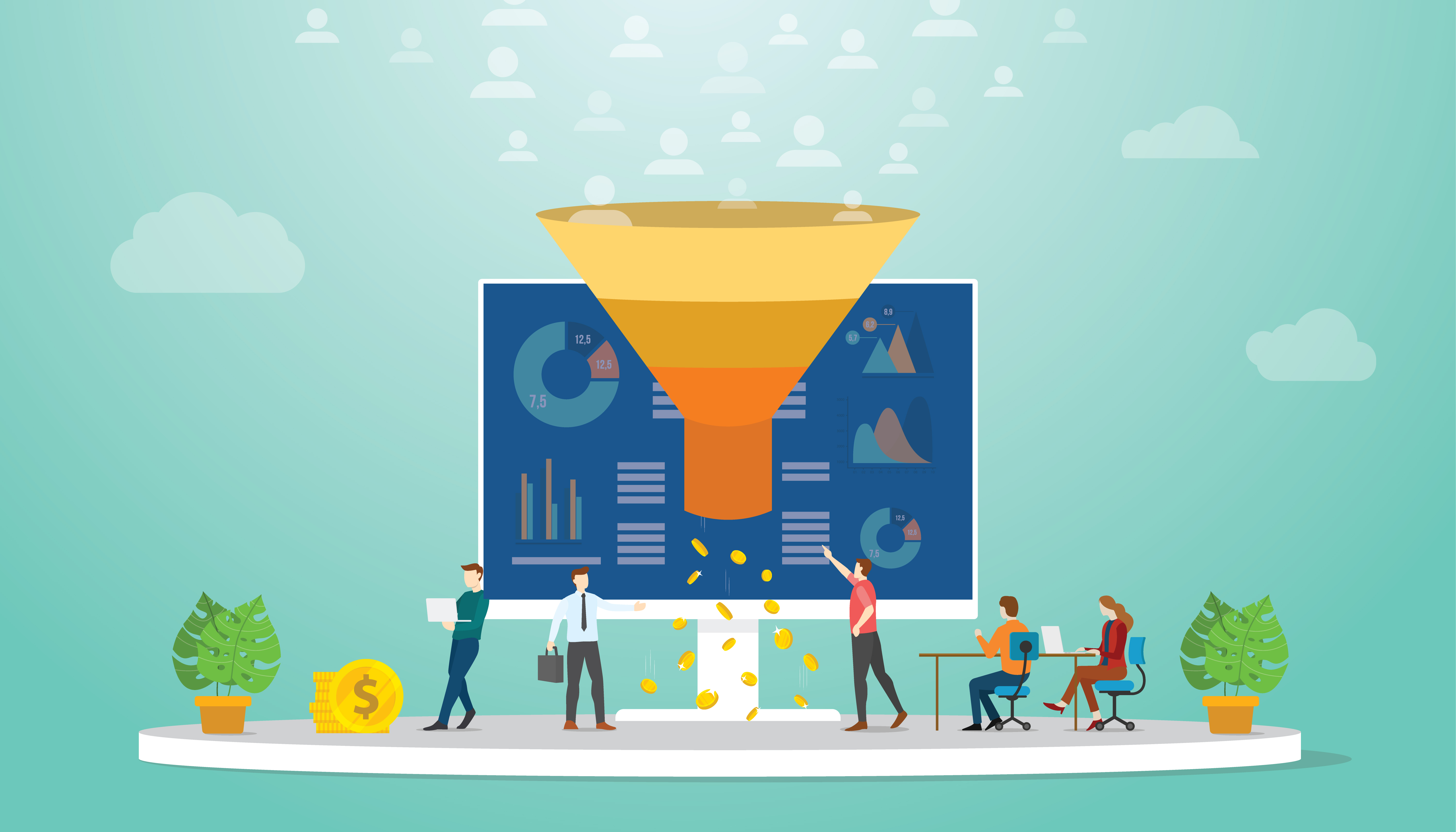 followers or users monetization team marketing strategy concept with modern flat style - vector illustration