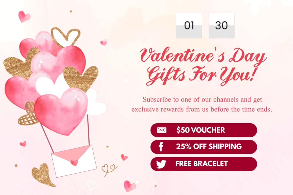 countdown popups ecommerce valentines day pop ups